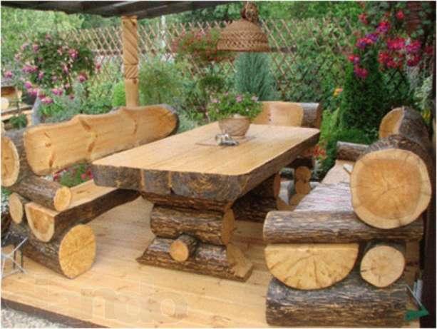 Садовая мебель из брёвен своими руками