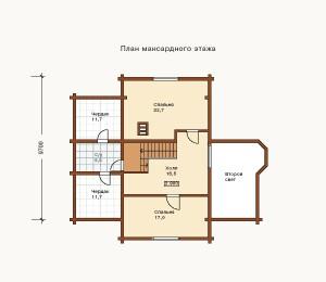 план 2 этажа коттеджа из сруба