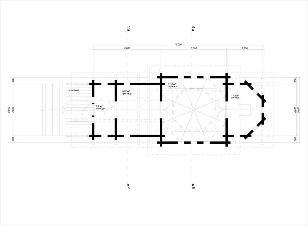 план церкви из бруса